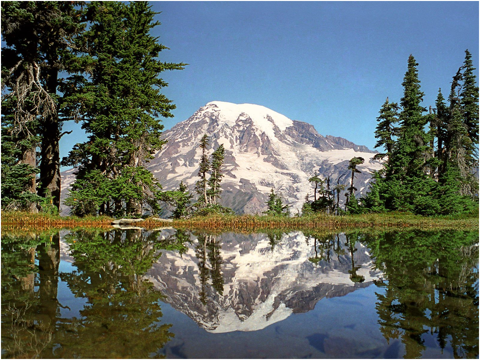 mount rainier reflected in lake